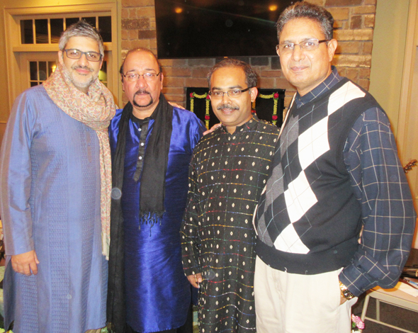 "The performers for the ghazal concert, from left, Bobby Jutley on the tabla, singer Jaswinder Singh ""Bunty"", Rennison Macwan on the keyboards and guitar and Azim Khan on the 5-string electric violin."