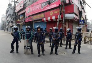 Bangladesh police on alert ahead of the verdict in the corruption trial of opposition leader Khaleda Zia (AFP Photo/Munir UZ ZAMAN)