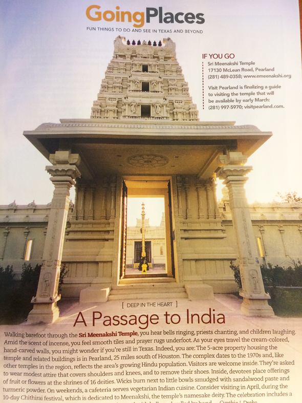 The latest edition of AAA's Texas Journey magazine features a short travel feature on the Meenakshi Temple in Pearland.