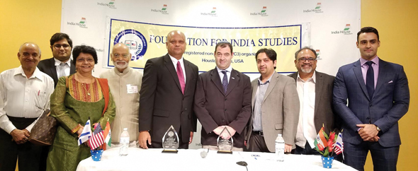 From left: Pradip Brahmbhatt, Harshith Marepalli, Parul Fernandes, Krishna Vavilala, Founder Chairman of FIS; Dr. Anupam Ray, Consul General of India; Gilad Katz, Consul General of Israel; Vishal Merchant, Raghavender Nednur, Nischal Bhan, Event Chair.