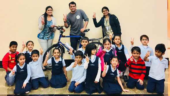 Children of DAV Montessori School of Arya Samaj Greater Houston peppered Nitin with more questions than any other place in the World according to Nitin