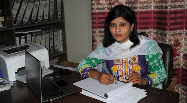 In this February 12, 2018 file photo, Krishna Kumari, from the Pakistani Hindu minority, works in her office in Hyderabad, Pakistan. (AP)