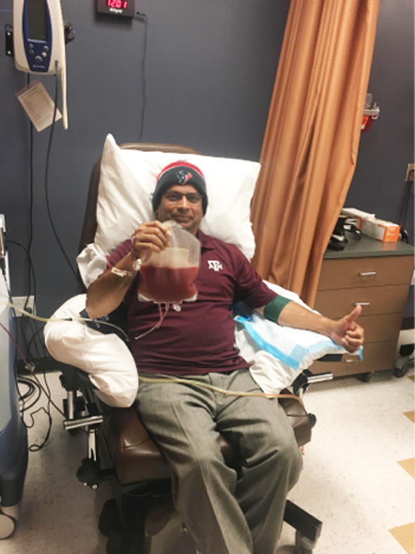 Parveez recently donated PBSC to save the life of a Leukemia patient. He is the first marrow donor of 2018 from Houston.