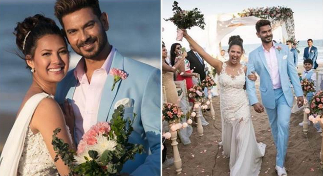 Keith Sequeira weds Rochelle Rao: While Rochelle Rao looked beautiful in a white wedding gown, Keith Sequeira was every bit a prince charming in his pink and blue suit