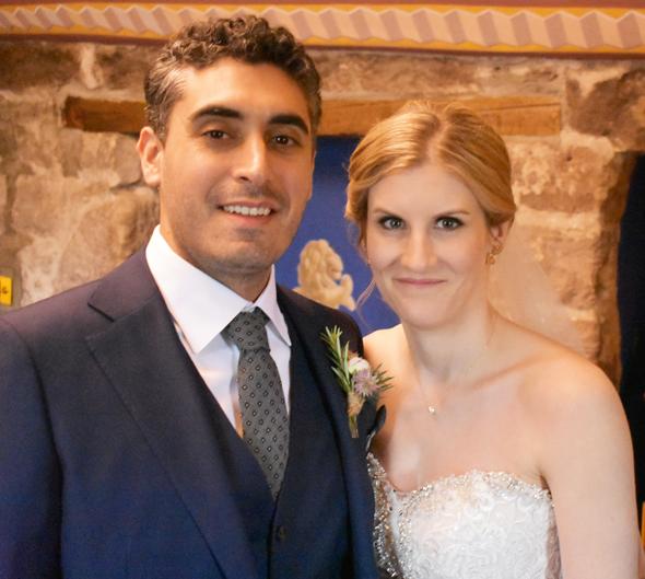 Stefan Malhotra and Alexandra Shepherd before their wedding in Fingask Castle, Scotland