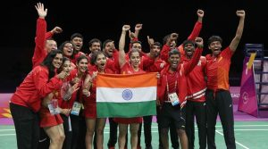 Badminton - Gold Coast 2018 Commonwealth Games - Mixed Team Medal Ceremony - Carrara Sports Arena 2 - Gold Coast, Australia - April 9, 2018. Team India celebrates winning a gold medal. REUTERS/Athit Perawongmetha