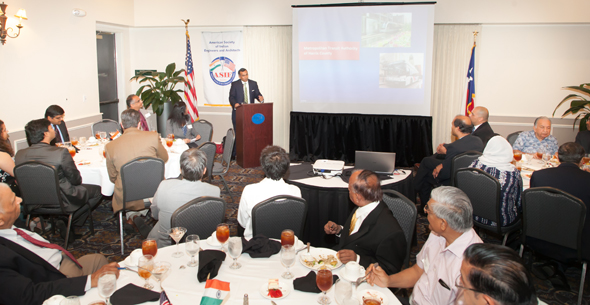 Houston METRO Board Director Sanjay Ram addressed the American Society of Indian Engineers and Architects monthly meeting on April 25 over lunch at the HESS Club.