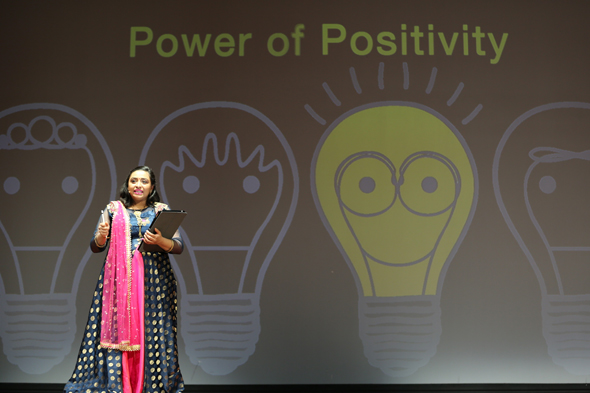 Dr. Pratiksha Amin addresses the audience on the power of positivity.