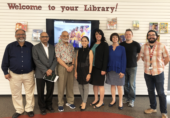 (FIS-HPL PROJECT TEAM (from left)) : FIS Directors Raghavender Nednur, Hiren Sharma, Chairman Krishna Vavilala;  HPL Members: Abrego Carmen, Project Lead and Manager, Jennifer Schwartz, Ana Frade, Allen Westrick, and Dominick Spinelli of HPL. Photo: Krishna Marepalli