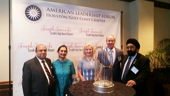 From left: Ashok Garg, Prabha Garg, Whitney Crane, Jim Crane and Jagdip Ahluwalia at the Joseph Jaworski Leadership Award Dinner