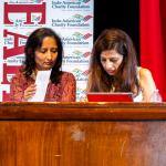 Emcees, IACF Board membersBela Thacker (right) and Dr. Purvi Parikh.
