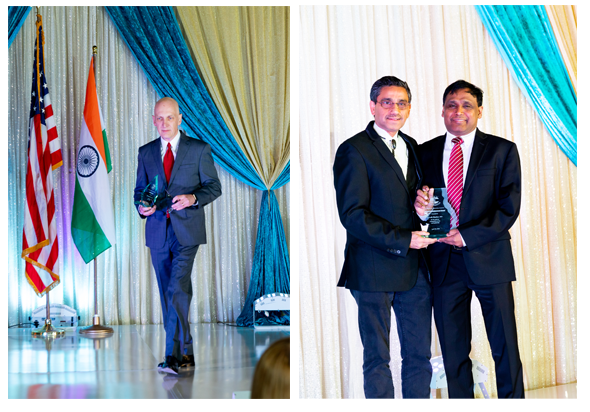 From left: Keynote Speaker, Dr. James T. McDeavitt, lifetime achievement award recipient Dr. Subodh Bhuchar, and Dr. Prasun K. Jalal, IDA President; at the Indian Doctors Association 2018 Gala on Saturday, April 28, at Hyatt Regency, Houston. Photos: ROY Photography