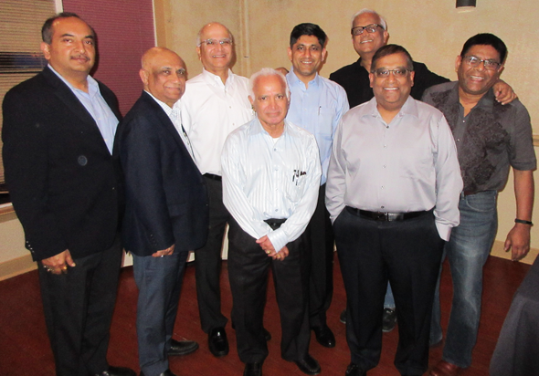 At the April IITAGH meeting, from left, Jiten Agarwal, Surajit Dasgupta, Abhijit Gadgil,  Malik Putcha, featured speaker Shailendra Kumar, Pradeep Anand, Partha Chatterjee and Tapan 'TK' Das.