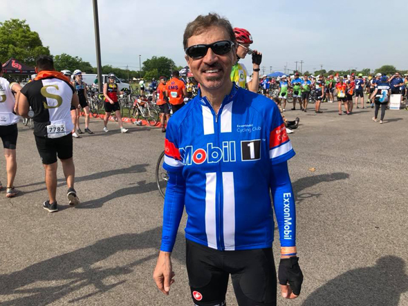 Kuldip Kaul resting after his 12th MS 150 bike ride