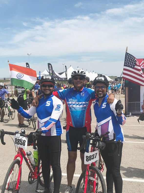 Vijay Pallod and some younger friends on his final MS 150 ride