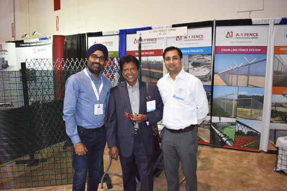 A-1 Fence was a first time exhibitor at this year's OTC. T.S. Bindra, Director (left) and Sumeet Singh (right), Manager Business Development pose with visitor Vale Subramaniyam.