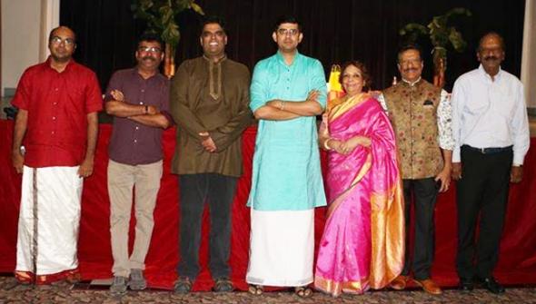 From left: Sanjeev Kumar (violinist), Thiru Arumugam, (past BKM President) Mani Vaitheeswaran (BKM President), Sikkil Gurucharan, Leela Krishnamurthy (President SN OM Trust), Rajan Radhakrishnan, (Madras Pavillion), and Ashok Vasan (Managing Director of Sankara Nethralaya, Chennai India).