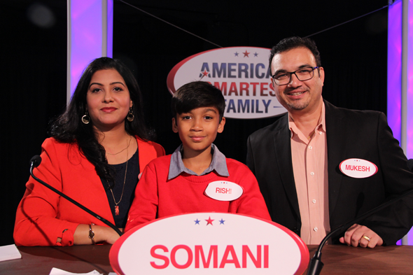 The Somani family on the set of America's Smartest Family