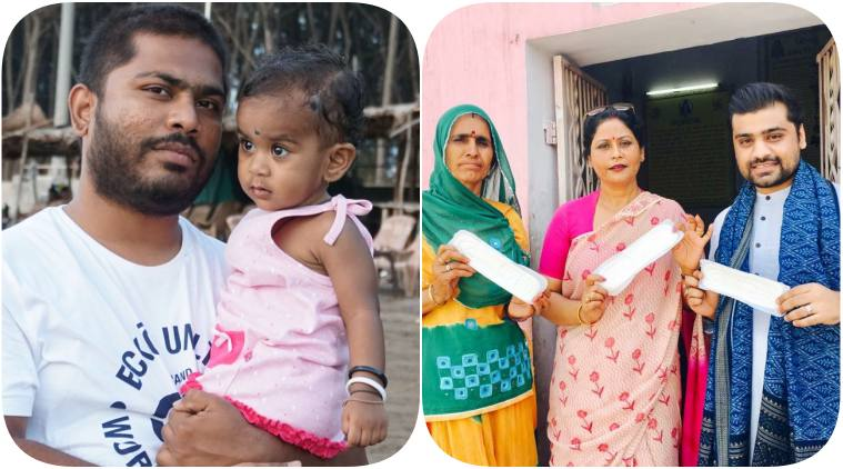 World Menstrual Hygiene Day, (L-R): Amol Mane posing with his daughter Dea; Anurag Chauhan.