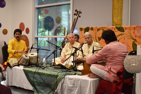 Pandits Rajan (left) and Sajan Misra performed at the Glade Cultural Center in The Woodlands on Friday, May 25, accompanied by local artistes Shantilal Shah on the tabla and Sumit Mishra on the harmonium.