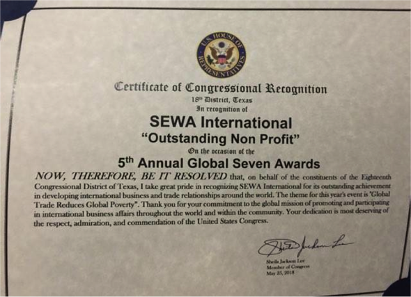 Congresswoman Sheila Jackson Lee, Representing the 18th District of Texas, also recognized Sewa International with a Certificate of Congressional Recognition for its good work
