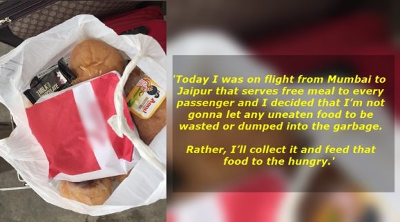 "The Facebook user wrote that he distributed the food he collected among ""children and grown-ups who can't even afford a meal a day.""(Source: Vishab Mehta/Facebook)"