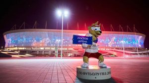 FIFA World Cup 2018 Official mascot Zabivaka outside the stadium after the match. (Source: Reuters)
