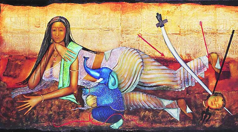 njolie Ela Menon's works Divine Mothers Series – I (Parvati).