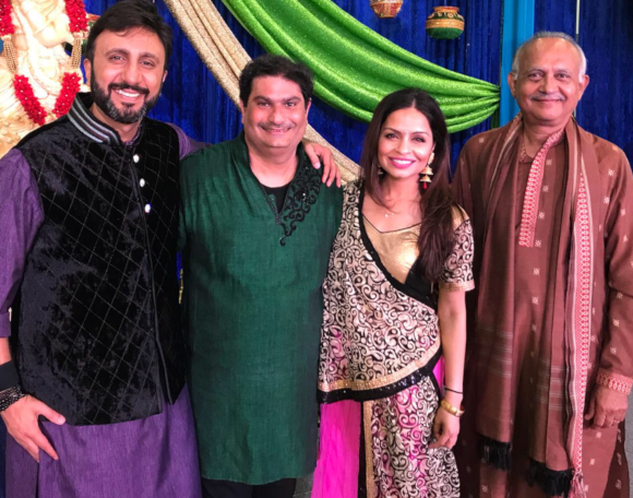 Darshak Thacker (in green) from Krishna Sounds Productions and his team.