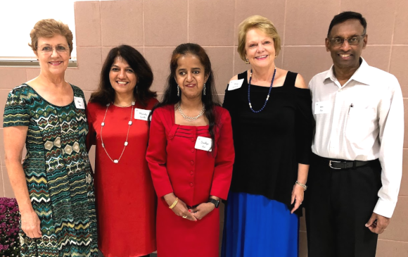 Club 24 Event Chair Elsie Rao (left) with President Manisha Gandhi, Keynote Speaker Sandhya Rao, Event Co-chair Mary Grace Landrum and Venu Rao.