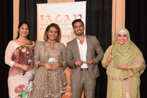 Bone marrow donors were recognized, Ayesha Khan, Zain Kassam, and Fouzia Mohammad.  The awards were presented by Gaytri Kapoor (left), Advisory Board Member of IACAN.