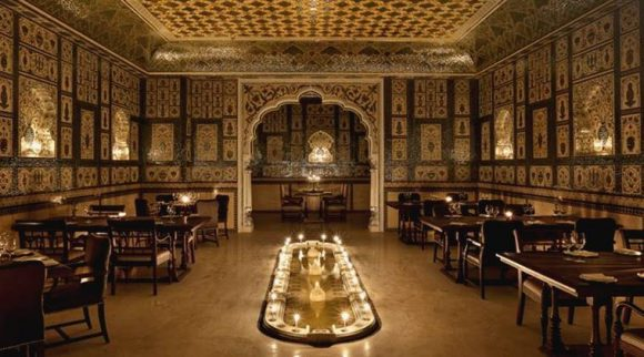 The Royal dining hall at Mohan Mahal serves their guests in silverware that glows in the golden lights of the candles. (Source: Official Facebook page)