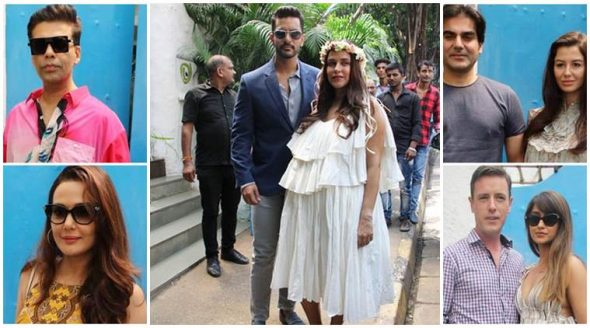 Parents-to-be Neha Dhupia and Angad Bedi were all smiles as they arrived for the baby shower.