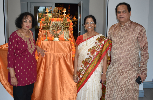 The officers of the Meenakshi temple, from left, Dr. Kamala Raghavan, Treasurer; MTS Board Chair, Dr. Padmini Ranganathan and Partha Krishnaswamy, Joint Secretary