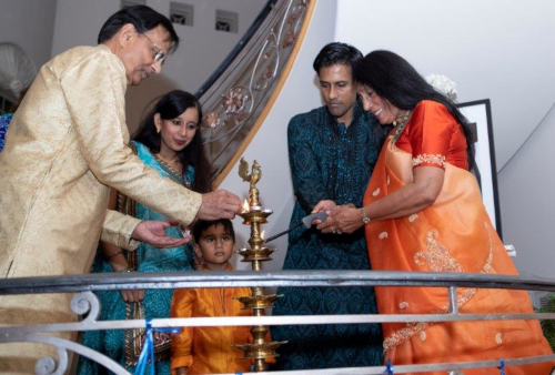 The Moonat family lit the traditional Diwali diya.