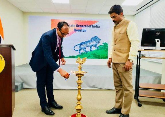 Acting Consul General Surendra Adhana Lighting the Lamp