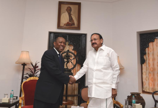 Houston Mayor Sylvester Turner meets in Mumbai with Vice President of India, Venkaiah Naidu.