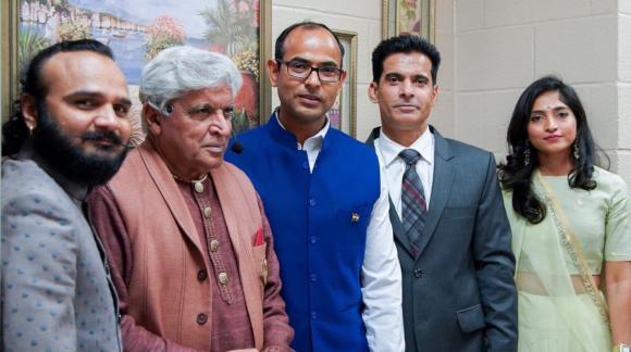 From left: Parthiv Gohil, Javed Akhtar, Deputy Consul Surendra Adhana, Rajender Singh, and Jahnvi Shrimankar.