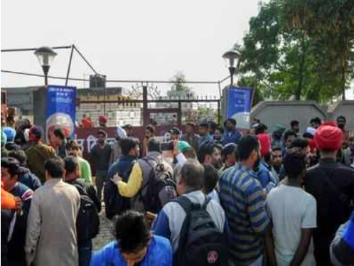People gather at Nirankari Bhawan in Adliwal village near Amritsar. (PTI photo)