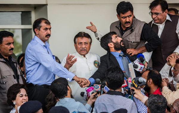 Gen. Pervez Musharraf, the former Pakistani president, addressed supporters in Karachi on Sunday upon his return from a self-imposed exile.