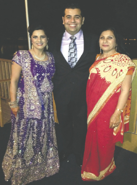 The newlyweds Anushka Kinra and Ali Ghazi-Askar with the bride's mother Anita Kinra at the reception.