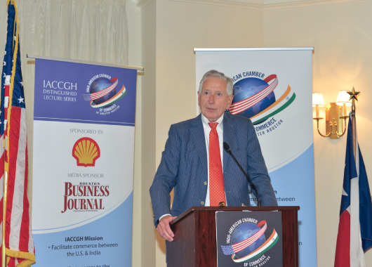 Houston's champion Drayton McLane made an inspirational speech in his encore appearance at the IACCGH Distinguished Speaker series. Photo by Bijay Dixit.