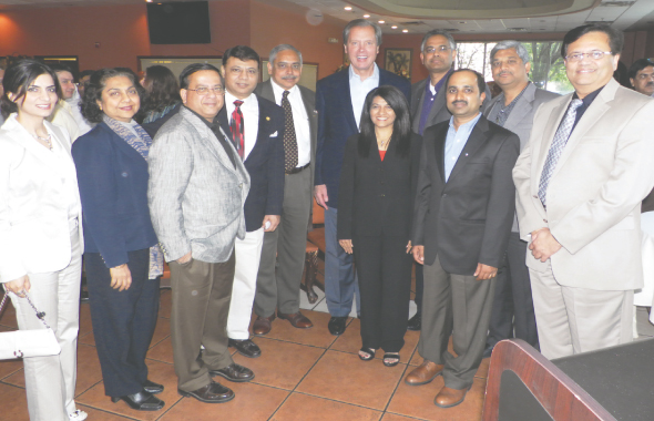 Texas Lt. Gov. David Dewhurst with members of the Board of the IAPAC at the meeting held last Saturday, April 13 at Madras Pavilion in Sugar Land.  Photos: Jawahar Malhotra