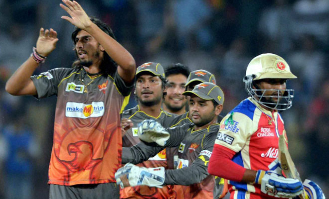 Sunrisers Hyderabad players celebrate a wicket. (PTI)