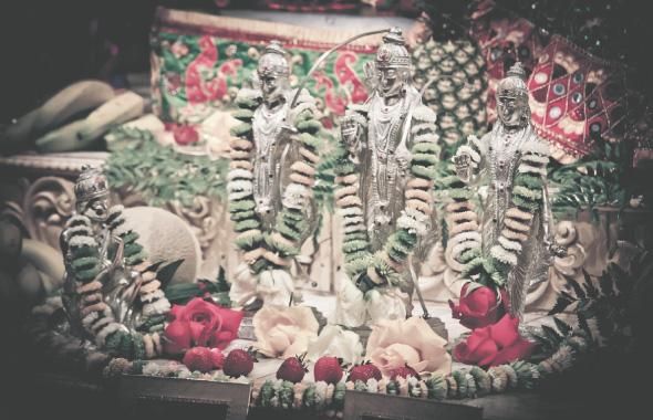 Beautifully decorated Lord Ramachandra with Sita, Lakshmana and Hanuman.                               Photos: Thejas Rajaram