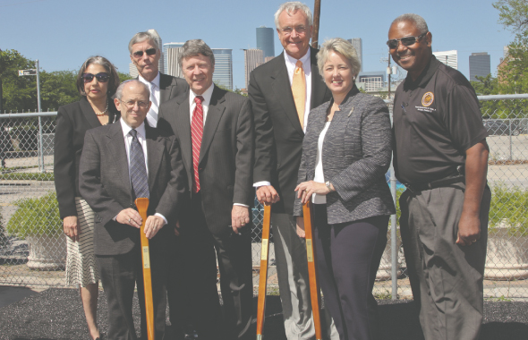 From Left (first row): Elliot Gershenson, Judge Ed Emmett, Bill King, Mayor Annise Parker, Council Member Andrew Burks, (second row) Dr. Fatima Mawji, Council Member Jack Christie