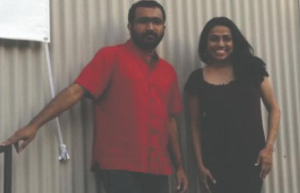 Dr. Ratheesh Radhakrishnan and KTRU's Varsha Vakil at the film festival at Rice Cinema.