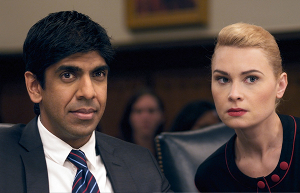 Ray Shekar (Sachin Mehta) with Allyson Daugherty (Kristina Klebe) in the courtroom in the newly release indie movie The Advocate which will premier in the Dances With Films festival in Hollywood on Saturday, June 8.