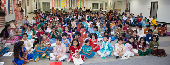 Over 80 Bala Vihar children, grouped into four levels from kindergarten to high school, participated in Gita Chanting competition.  Photos: Jayesh Mistry and Mahendra Vaishnav