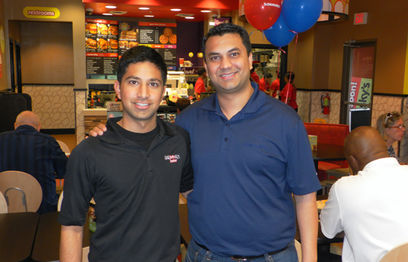 Avi (left) and Vibhore Jain at their brand new Schlotzky's restaurant on Bunker Hill and I-10.   Photos: Jawahar Malhotra